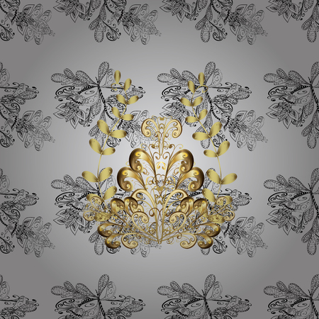 unusual: Golden element on gray background. Seamless pattern. Gold gray floral ornament in baroque style. Golden floral sketch. Damask background.