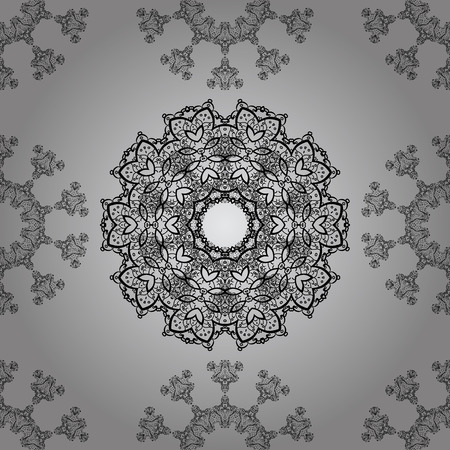 unusual: Dim pattern on gray background with dim elements. Seamless classic dim pattern. Vector traditional orient ornament.