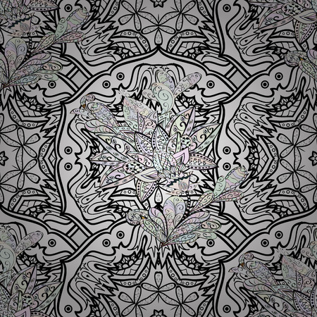 unusual: Antique dimen repeatable sketch. Damask seamless repeating pattern. Dim floral ornament in baroque style. Dim element on gray background.