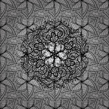 Ornate decoration. Vector illustration. Damask dim abstract flower seamless pattern on gray background.