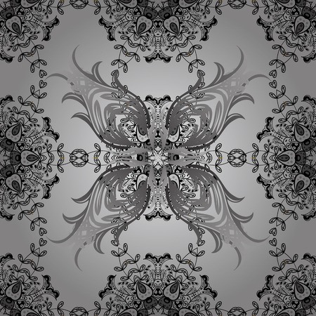 arched: Dim elements on gray background. Seamless vector background. Sketch baroque, damask. Floral pattern. Stylish graphic pattern.