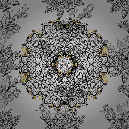 Vector golden floral ornament brocade textile pattern, dim doodles. Seamless golden pattern. Gray background with golden elements. Metal with floral pattern. Illustration