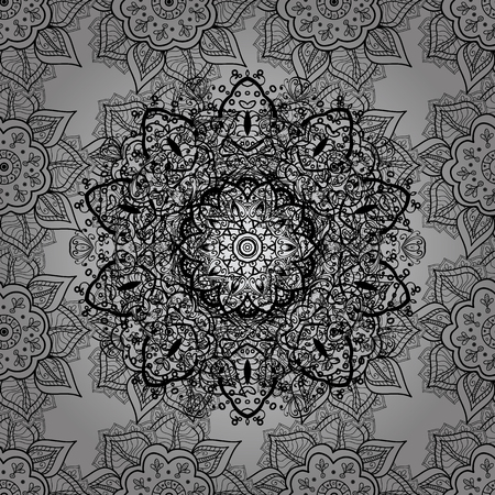 expensive: Seamless medieval floral royal pattern. Vector illustration. Dim on gray background. Decorative symmetry arabesque. Good for greeting card for birthday, invitation or banner.