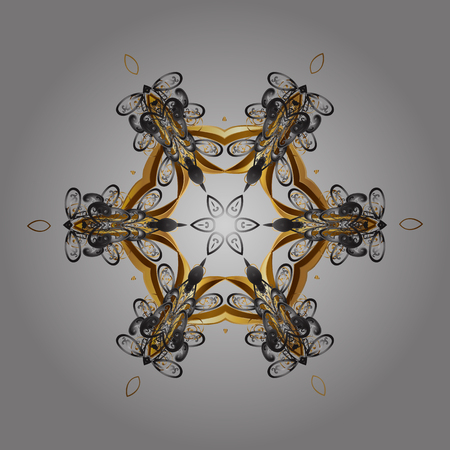 Decorative snowflakes pattern. Golden design with doodles and golden elements. Vector on gray background for Christmas.