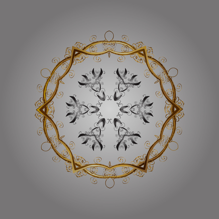 symbolics: Arab, Asian, ottoman motifs in colors. Vector illustration. Simple snowflakes, floral elements, decorative ornament. Winter pattern on gray background.