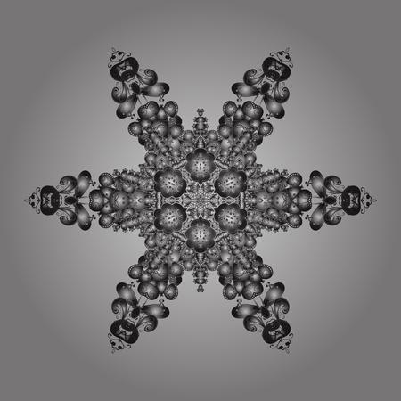 Elementi dorati con doodles. Illustrazione vettoriale di riserva neve caduta. Fiocchi di neve, nevicate di colori su uno sfondo grigio.