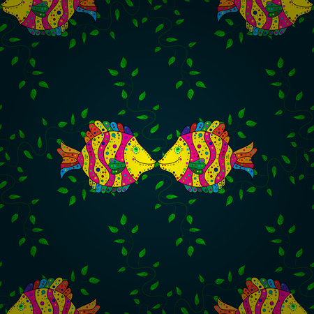 petal: Motley vector illustration. Seamless exotic pattern with many blue tropical flowers. Blooming jungle.