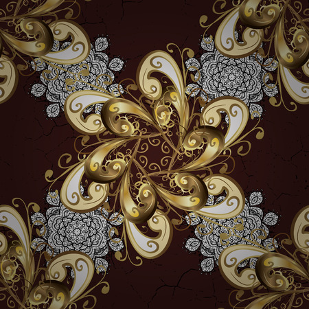 Seamless oriental classic golden pattern. Vector abstract background with repeating elements on brown background. Vector illustration.