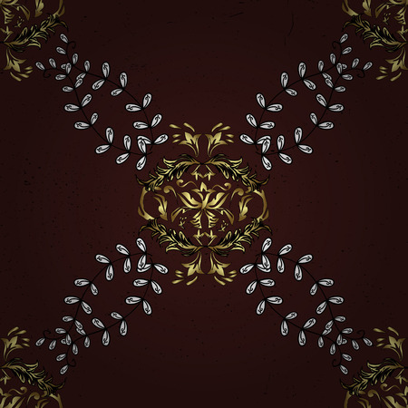 florid: Damask pattern repeating background. Gold brown floral ornament in baroque style. Antique golden repeatable sketch. Golden element on brown background.