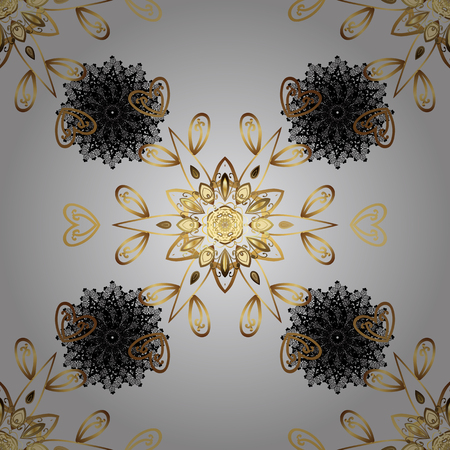 tillable: Vector illustration. Seamless oriental classic golden pattern. Vector abstract background with repeating elements on gray background.