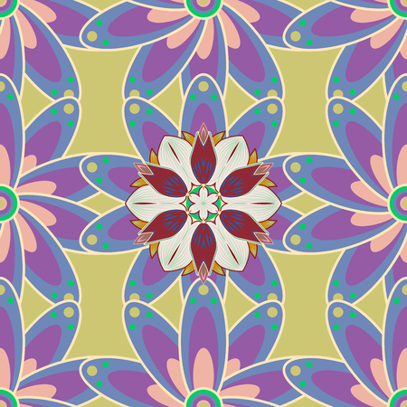 Template Colored mandala vector circle of  hand drawn on colorful background.
