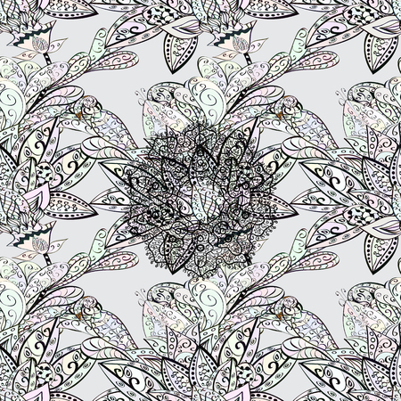florid: Dim pattern on gray background with dim elements. Vector oriental ornament. Traditional classic dim pattern. Seamless oriental ornament in the style of baroque. Illustration