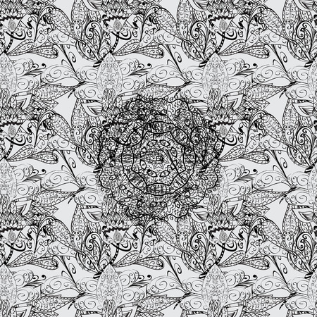 foliate: Seamless royal luxury dim baroque damask vintage. Vector seamless pattern with dim antique floral medieval decorative, leaves and dim pattern ornaments on gray background.
