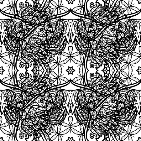 Dim pattern on a gray background with dim elements. Luxury, royal and Victorian concept. Ornate decoration. Vector vintage baroque floral seamless pattern in dim.