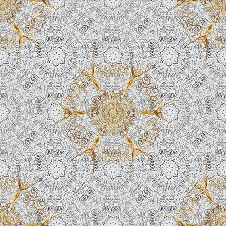 Gold on gray background. Good for greeting card for birthday, invitation or banner. Decorative symmetry arabesque. Vector illustration. Seamless pattern medieval floral royal pattern.