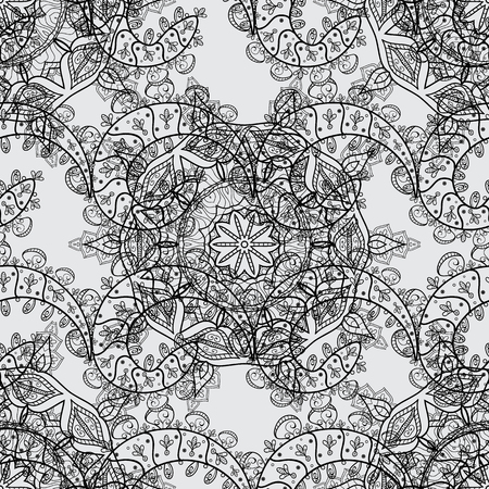 continue: Seamless vintage pattern on gray background with dimen elements. Christmas, snowflake, new year. Dim seamless pattern on gray background with dim elements.