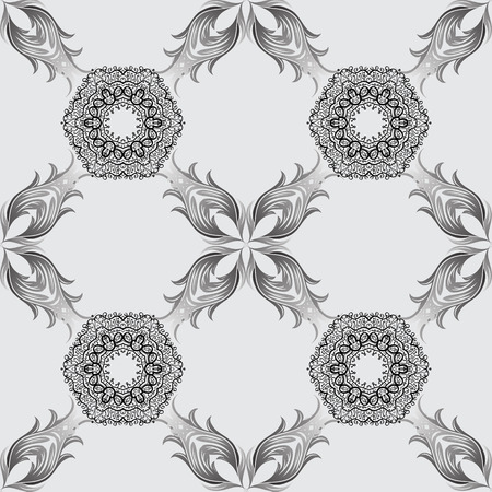 Flat hand drawn vintage collection. Backdrop, fabric, dim sketch. Dim pattern on gray background with dim elements. Vector seamless pattern. Illustration