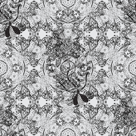 refined: Damask seamless repeating background. Dim element on gray background. Dim floral ornament in baroque style. Dim Sketch on texture background.