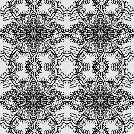 netting: Christmas, snowflake, new year 2018. Seamless vintage pattern on gray background with dim elements.