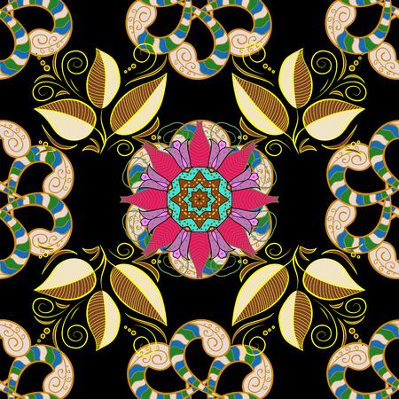 안티 스트레스 요법 패턴. 요가, 명상 포스터에 대 한 배경입니다. 이파리. 장식 라운드 장식입니다. 담홍색. 벡터 개요 검은 배경에 만다라입니다. 디