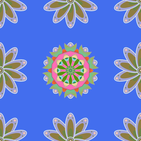 petal: Trendy seamless floral pattern. Vector illustration with many colorfil flowers. Illustration