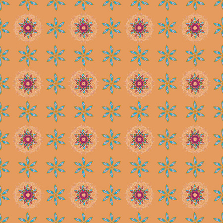 nobby: Seamless floral pattern can be used for sketch, website background, wrapping paper. Summer design. Vector flower concept. Leaf natural pattern in colors.