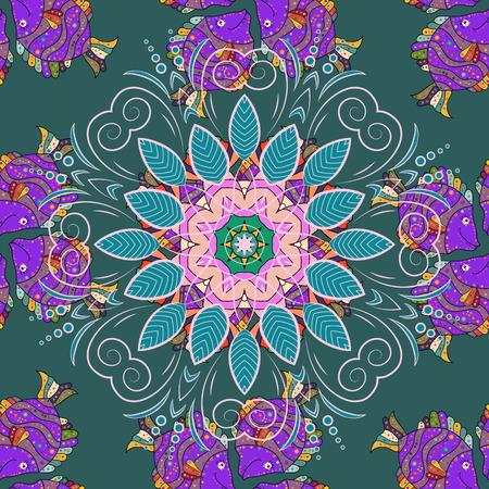 petal: Decorative vector ornate colored mandala icon isolated for card, colored Mandala on a blue background. For invitation card, scrapbook, banner, postcard, tattoo, yoga, boho, magic, carpet, tile or lace