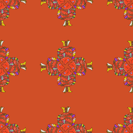 Seamless pattern with abstract ornament. Vector Hand drawn floral background.