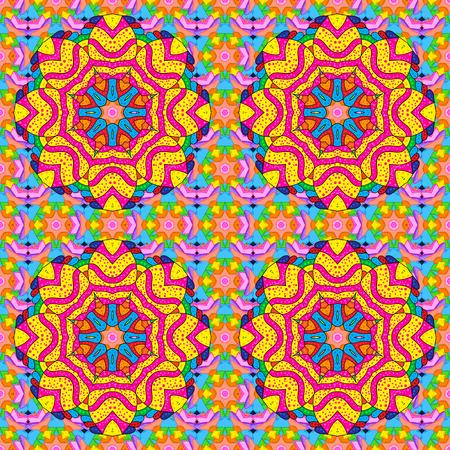 rt: Intricate colored Arabesque with on a colorfil background. Vector abstract stylized colored mandala.