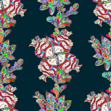 petal: Endless vector texture for romantic design, decoration, greeting cards, posters, wrapping, for textile print and fabric. Floral seamless pattern with bright summer flowers in blue colors.