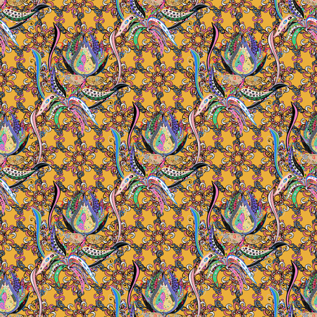 petal: Background texture, sketch, floral theme in colors. Abstract ethnic vector seamless pattern. Tribal art boho print, vintage flower background.