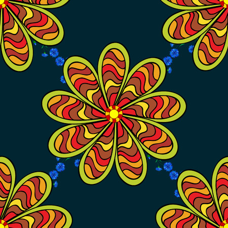 petal: Vector sketch of many abstract flowers in blue colors. Hand drawn seamless flower illustration. Seamless pattern abstract floral background. Illustration