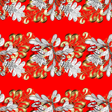 rococo: Abstract sketch, wrapping decoration. Golden snowflake seamless pattern.