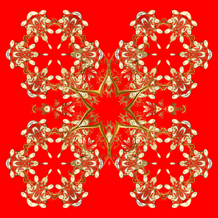 gingerbread man: Hand painted pattern. Vector with abstract hand drawn snowflakes design on a red background. Illustration