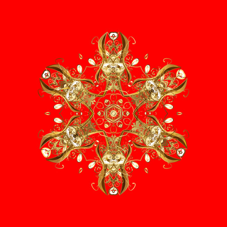 nobby: Vector Christmas party design template. Abstract Christmass illustration with gold snowflakes on a red background.