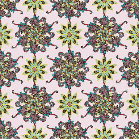 rare: Summer design. Seamless floral pattern can be used for sketch, website background, wrapping paper. Leaf natural pattern in colors. Vector flower concept. Illustration