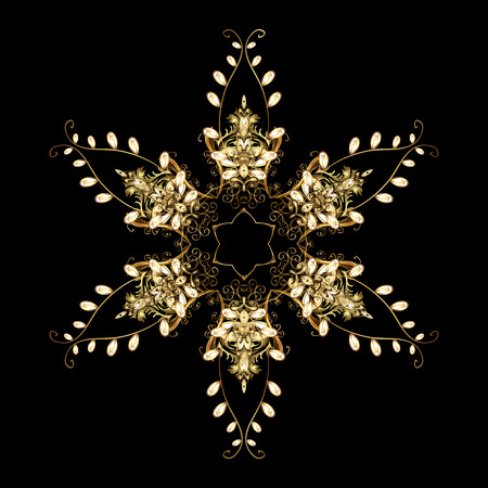 Snowflake frame. Christmas frame with abstract golden snowflakes and dots on black background. Vector illustration.
