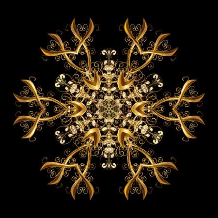 Patrón de vector, fondo de Navidad. Borde abstracto Huésped de invierno Vector los copos de nieve dorados de la Navidad con los garabatos y los puntos en fondo negro.