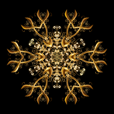 Vectorpatroon, Kerstmisachtergrond. Abstracte grens. Winter grens. Vectorkerstmis gouden sneeuwvlokken met krabbels en punten op zwarte achtergrond.