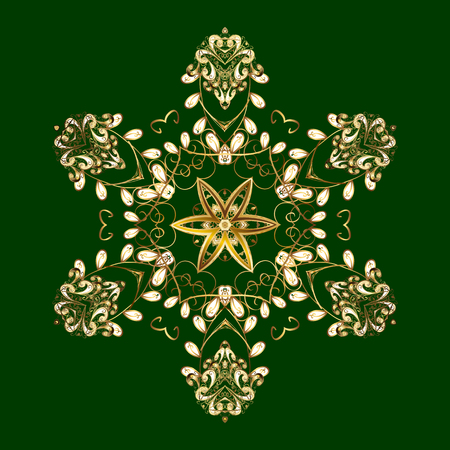 On green background. Arab, Asian, ottoman motifs. Simple gold snowflakes, floral elements, decorative ornament. Vector illustration.