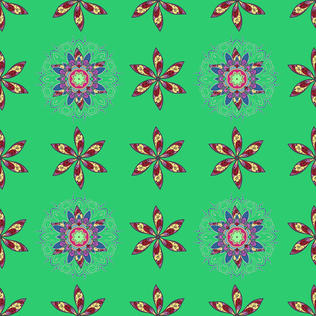 Seamless floral pattern can be used for sketch, website background, wrapping paper. Vector flower concept. Leaf natural pattern in blue colors. Summer design.