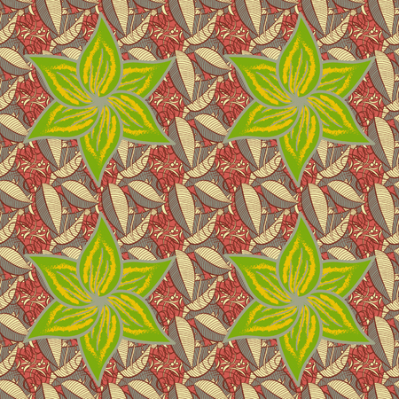 delectable: Tropical seamless pattern with many abstract flowers. Varicolored vector seamless illustration.
