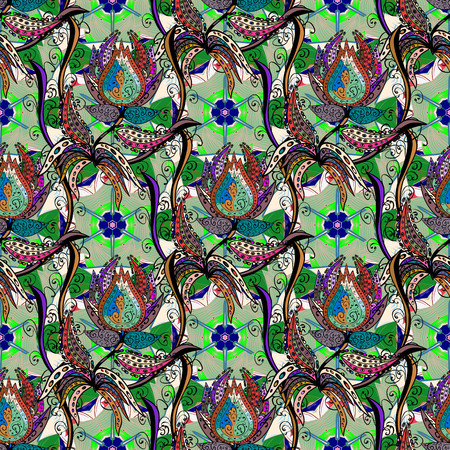 Bloemen naadloos patroon met heldere de zomerbloemen in kleuren. Eindeloze vectortextuur voor romantisch ontwerp, decoratie, groetkaarten, affiches, verpakking, voor textieldruk en stof.
