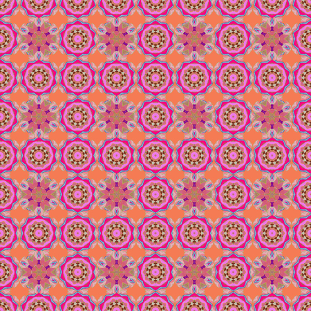 delectable: Abstract ethnic vector seamless pattern. Tribal art boho print, vintage flower background. Background texture, sketch, floral theme in pink colors. Illustration