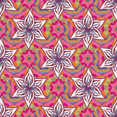 delectable: Vintage vector floral seamless pattern in colors. Illustration