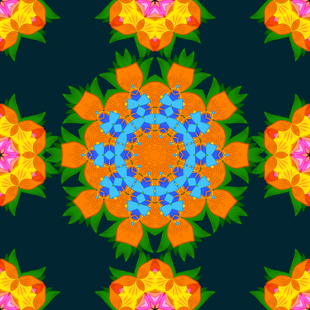 Colorful colored tile mandala on a background. Boho abstract seamless pattern. Unusual vector ornament decoration. Intricate floral design element for sketch, gift paper, fabric print, furniture. Illustration