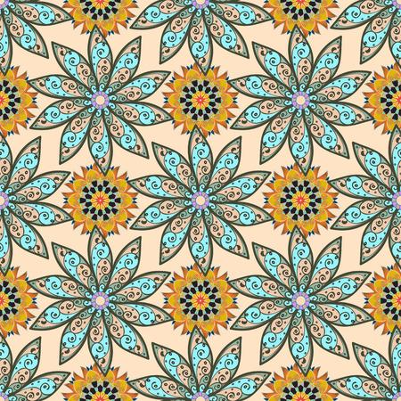 Textielprint voor bedlinnen, jas, pakketontwerp, stof- en mode-concepten. Het abstracte vector naadloze ontwerp van de patroonbloem in kleuren. Bloemen naadloos patroon met waterverfeffect.
