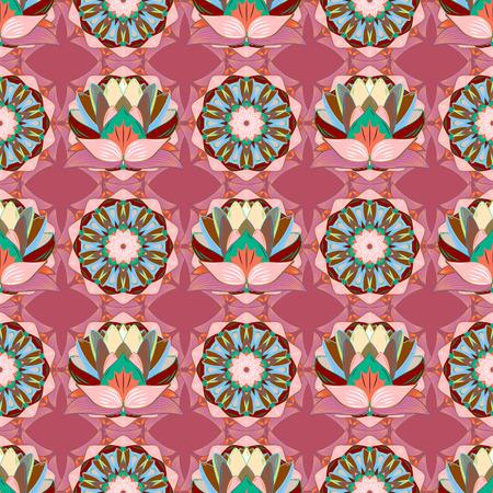 Achtergrond textuur, schets, bloemen thema in kleuren. Abstracte etnische vector naadloze patroon. Tribal art boho print, vintage bloem achtergrond.