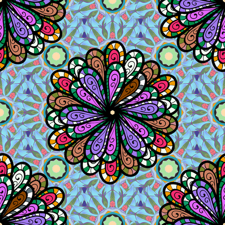 saturated color: Watercolor hand painting of abstract flowers, seamless pattern vector background.