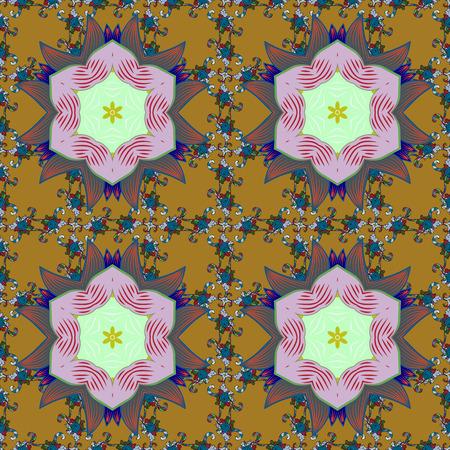 jumbled: Colored mandala on background. Rich ethnic striped seamless pattern geometric design. Mandala style. Vector illustration. Illustration